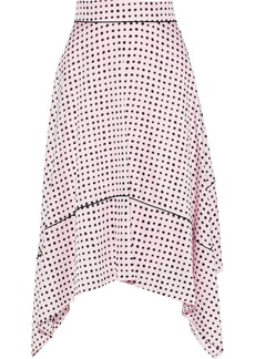DKNY Donna Karan Woman Fluted Polka-dot Crepe De Chine Skirt Baby Pink