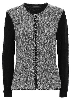 DKNY Donna Karan Woman Frayed Cotton-blend Bouclé Cardigan Black