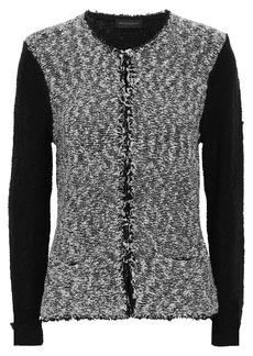 DKNY Donna Karan Woman Frayed Cotton-blend Bouclé Cardigan Black