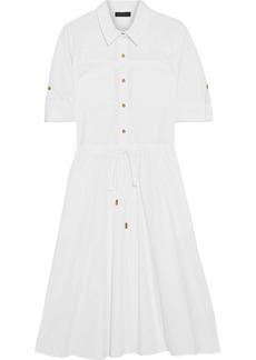 DKNY Donna Karan Woman Gathered Cotton-blend Poplin Shirt Dress White