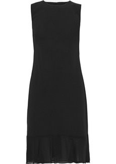 DKNY Donna Karan Woman Georgette-trimmed Ruffled Stretch-crepe Dress Black