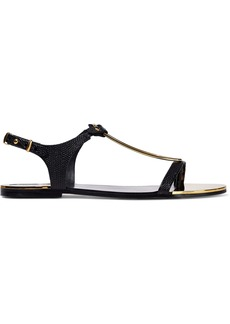 DKNY Donna Karan Woman Kaden Embellished Lizard-effect Leather Slingback Sandals Black
