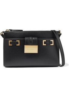 DKNY Donna Karan Woman Kami Snake-effect And Pebbled-leather Shoulder Bag Black
