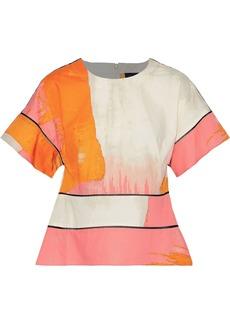 DKNY Donna Karan Woman Lattice-trimmed Printed Cotton Top Coral