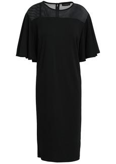 DKNY Donna Karan Woman Mesh-paneled Ponte Dress Black