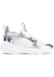 DKNY Donna Karan Woman Metallic Cracked-leather And Mesh Sneakers White