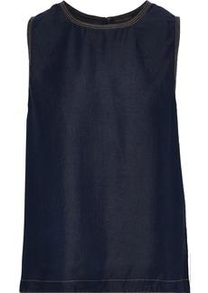 DKNY Donna Karan Woman Metallic-trimmed Twill Tank Midnight Blue