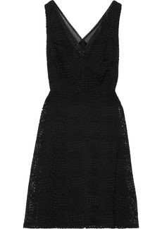 DKNY Donna Karan Woman Organza-trimmed Embroidered Tulle Dress Black