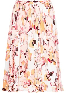 DKNY Donna Karan Woman Pleated Printed Crepe De Chine Skirt Blush