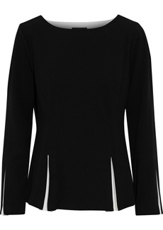 DKNY Donna Karan Woman Pleated Two-tone Stretch-crepe Top Black