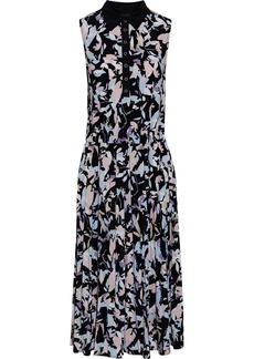 DKNY Donna Karan Woman Poplin-trimmed Gathered Printed Stretch-jersey Midi Dress Black