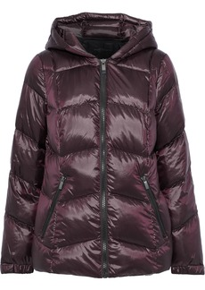 DKNY Donna Karan Woman Quilted Coated-shell Down Hooded Coat Burgundy