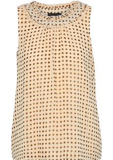 DKNY Donna Karan Woman Ruffle-trimmed Printed Crepe De Chine Top Beige