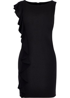 DKNY Donna Karan Woman Ruffle-trimmed Stretch-crepe Mini Dress Black