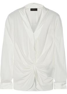 DKNY Donna Karan Woman Satin-trimmed Twist-front Silk-blend Blouse Ivory