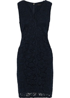 DKNY Donna Karan Woman Scalloped Corded Lace Mini Dress Navy