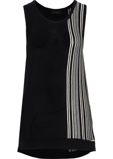 DKNY Donna Karan Woman Striped Knitted Tank Black