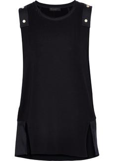 DKNY Donna Karan Woman Studded Satin-paneled Jersey Tank Black