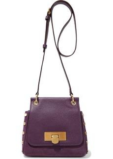 DKNY Donna Karan Woman Studded Suede And Pebbled-leather Shoulder Bag Purple