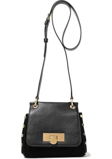 DKNY Donna Karan Woman Studded Suede And Pebbled-leather Shoulder Bag Black