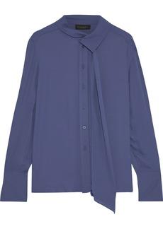 DKNY Donna Karan Woman Tie-neck Crepe Blouse Blue