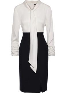 DKNY Donna Karan Woman Tie-neck Two-tone Satin-paneled Woven Dress Ivory