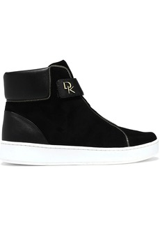 DKNY Donna Karan Woman Tria Leather-paneled Suede High-top Sneakers Black