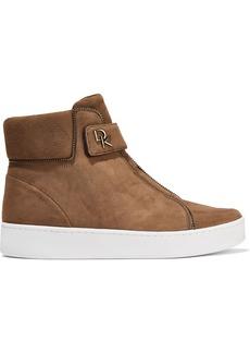 DKNY Donna Karan Woman Tria Zip-embellished Suede High-top Sneakers Light Brown