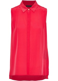 DKNY Donna Karan Woman Washed-silk Shirt Red