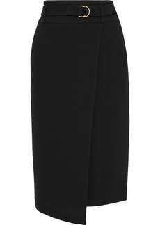 DKNY Donna Karan Woman Wrap-effect Belted Cady Pencil Skirt Black