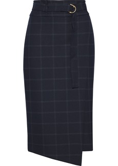 DKNY Donna Karan Woman Wrap-effect Checked Twill Skirt Navy