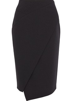 DKNY Donna Karan Woman Wrap-effect Stretch-crepe Pencil Skirt Black