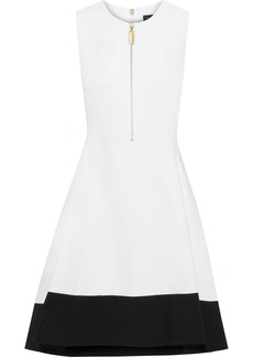 DKNY Donna Karan Woman Zip-detailed Two-tone Stretch-cady Dress White