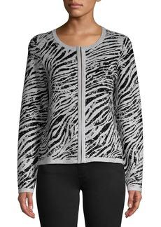 DKNY Donna Karan Zebra Print Jacquard Cardigan