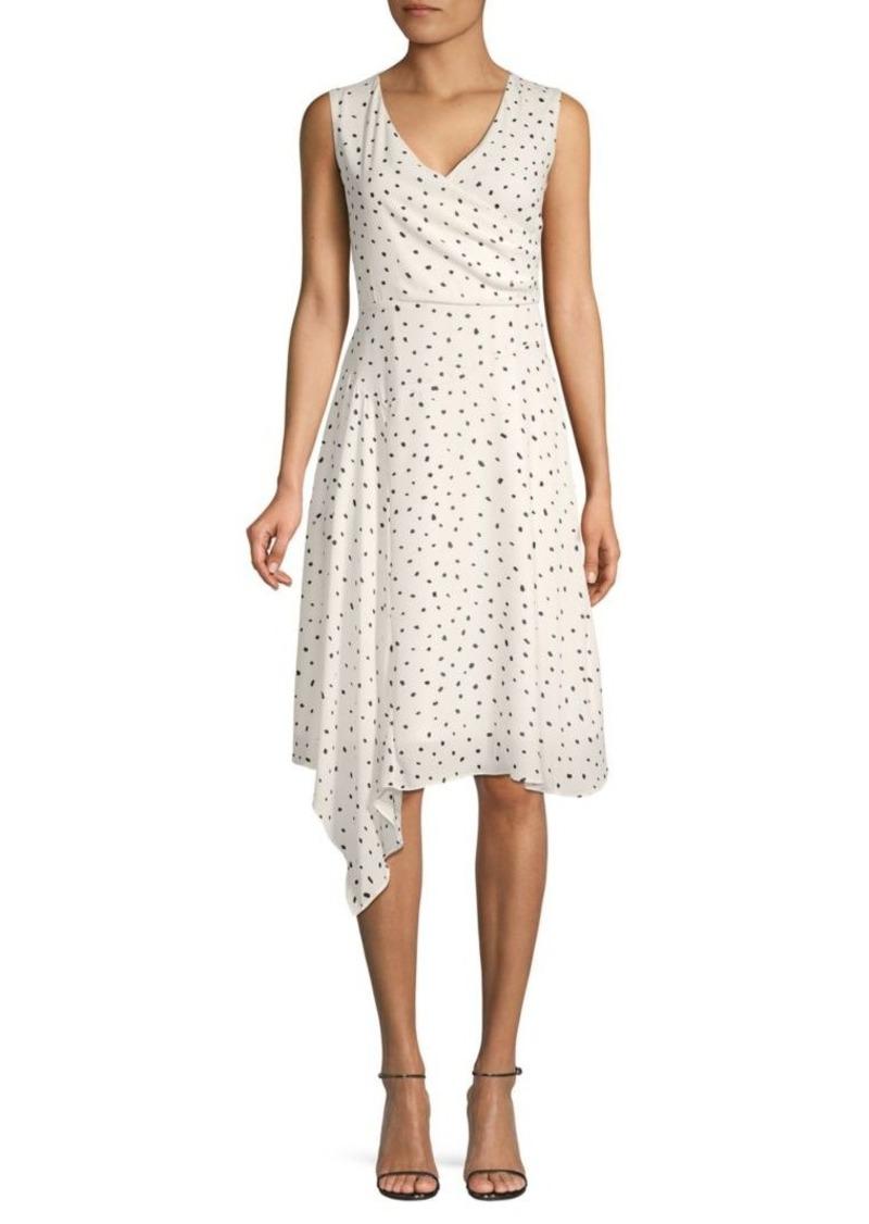 DKNY Dot-Print Asymmetrical Dress