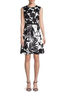 DKNY Double-Print Fit-&-Flare Dress
