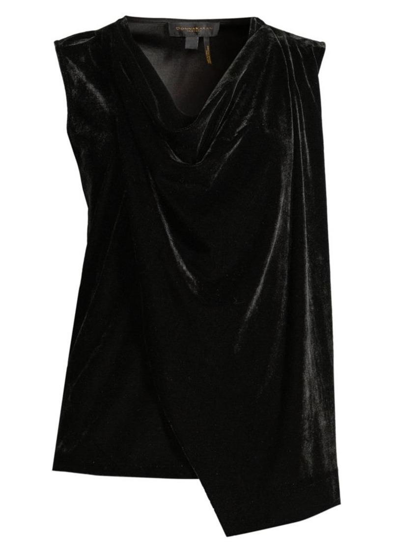DKNY Drape Front Velvet Top