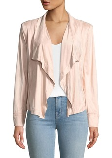 DKNY Draped-Front Faux-Suede Jacket