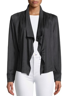 DKNY Draped Open-Front Sueded Cardigan Jacket