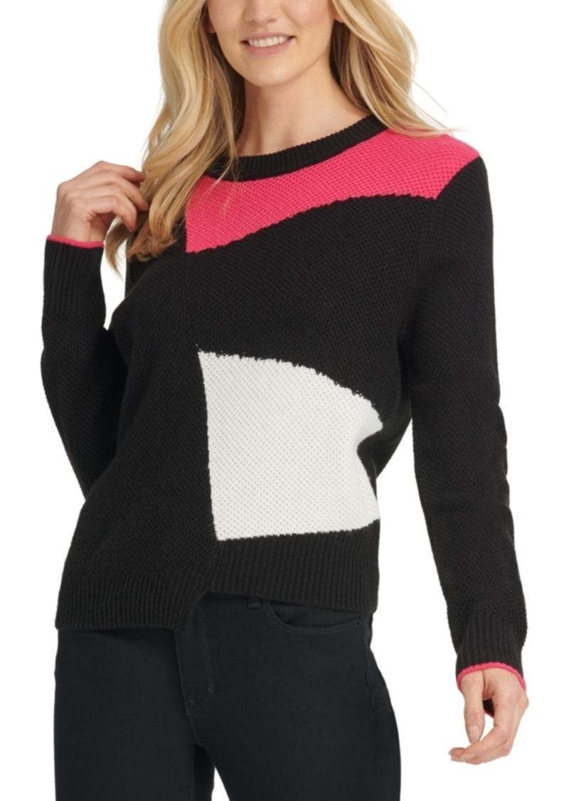 DKNY Dyny Asymmetrical Colorblocked Sweater