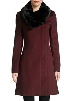 DKNY Faux Fur-Collar Wool-Blend Coat