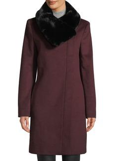 DKNY Faux-Fur Collar Wool Jacket
