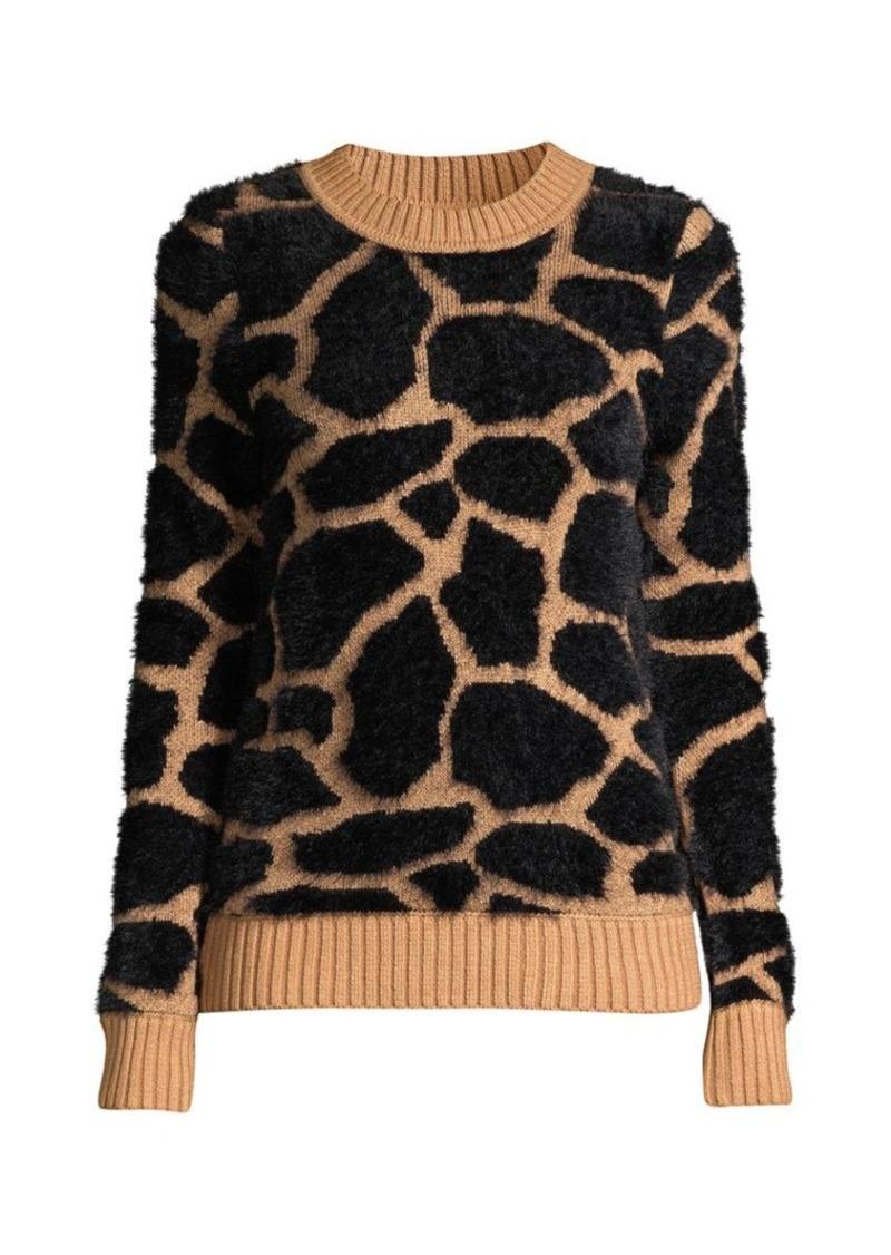 DKNY Faux Fur Giraffe Knit Sweater