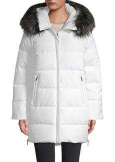 DKNY Faux Fur-Trim Hooded Coat