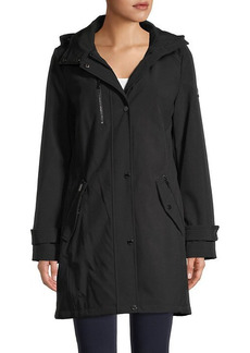 DKNY Faux Fur-Trim Long Jacket