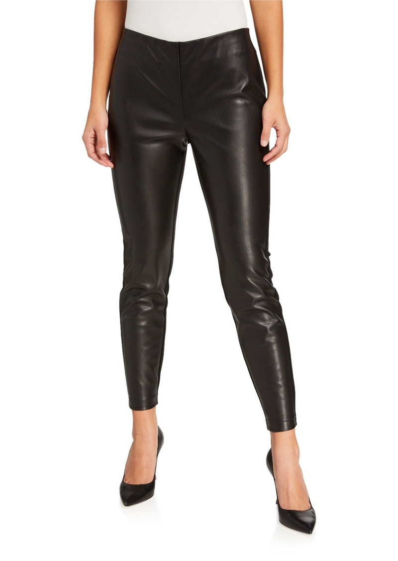 Faux-Leather Panel Pull-On Pants