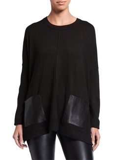 DKNY Faux Leather Pocket Pullover