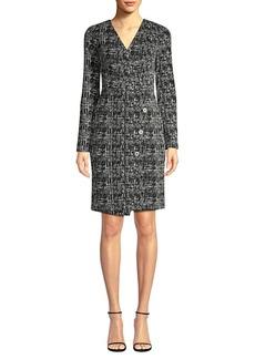 DKNY Faux Wrap Tweed Sheath Dress