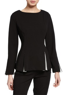 DKNY Flare Blouse w/ Contrast Insets