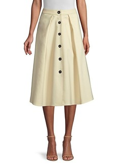 DKNY Flare Button Midi Skirt
